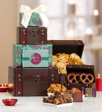 Be Merry Holiday Trunk Gourmet Gift Tower