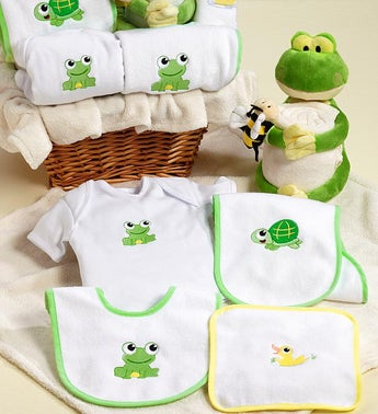 Froggie  Friends New Baby Boy or Girl Gift Basket