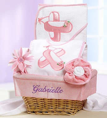 Personalized New Baby Girl Ballet Dancer Gift Basket - New Baby Girl Ballet Dancer Gift Basket