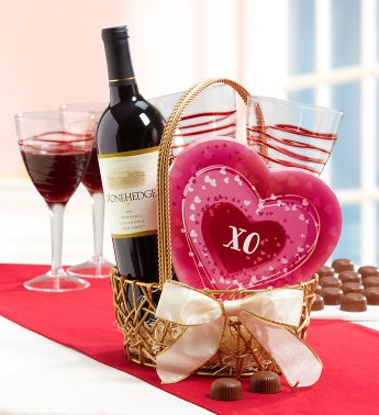 Wine & Chocolate Romance for 2 Basket