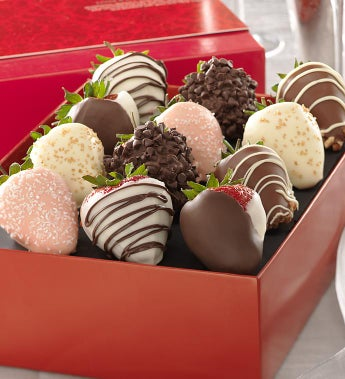 Fannie May Love & Romance Chocolate Strawberries-Love & Romance Strawberry 12 Ct