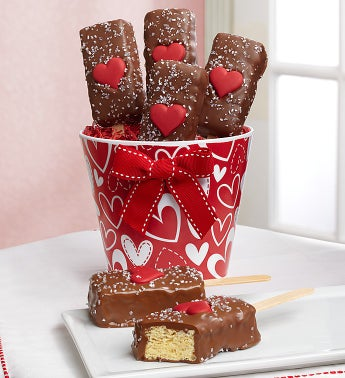 Valentine Hearts Chocolate Crispy Pops Pail
