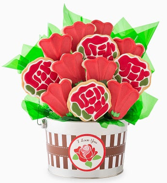 Cheryl's I Love You Rose Cookie Flower Pot