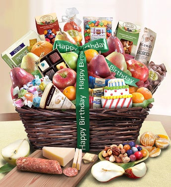 Happy Birthday Fruit & Sweets Basket Deluxe-Happy Birthday Fruit & Sweets Basket Deluxe