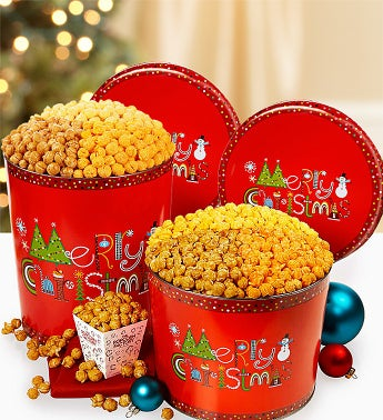 The Popcorn Factory® Merry Christmas Popcorn Tins