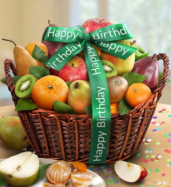 Happy Birthday Premier Orchard Fruit Gift Basket by 1-800-Baskets - Gift Basket Delivery
