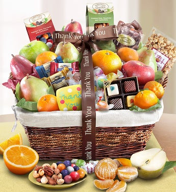 Thank You Fruit & Sweets Gift Basket - Thank You Fruit & Sweets Gift Basket