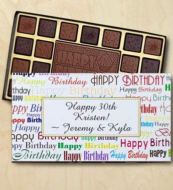 Birthday Personalized Chocolate Box Chocolates Box- Greetings by 1-800-Baskets - Gift Basket Delivery