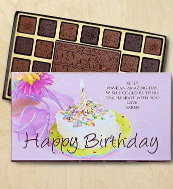 Birthday Personalized Chocolate Box Chocolates Box-Cake by 1-800-Baskets - Gift Basket Delivery