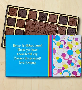 Birthday Personalized Chocolate Box Chocolates Box-Circles by 1-800-Baskets - Gift Basket Delivery