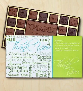 Thank You Personalized Chocolate Box Chocolates Box-Languages by 1-800-Baskets - Gift Basket Delivery