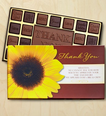 Thank You Personalized Chocolate Box Chocolates Box-Sunflower by 1-800-Baskets - Gift Basket Delivery