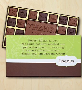 Thank You Personalized Chocolate Box Chocolates Box-Thanks Banner by 1-800-Baskets - Gift Basket Delivery