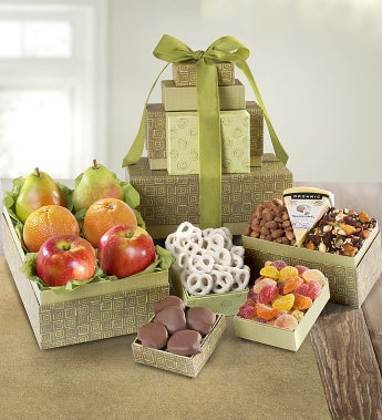 Sierra Sunrise Organic Fruit & Sweets Tower by 1-800-Baskets