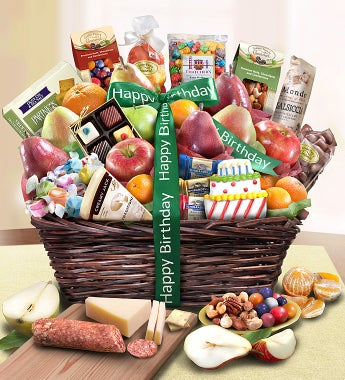 Happy Birthday Fruit & Sweets Basket-Happy Birthday Fruit & Sweets Basket Deluxe
