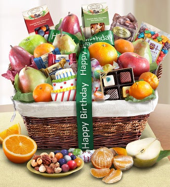 Happy Birthday Fruit & Sweets Basket-Happy Birthday Fruit & Sweets Basket Large