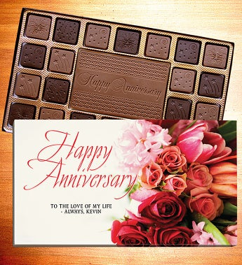 Happy Anniversary Personalized Chocolate Box-Anniversary Chocolates - Bouquet 45 Ct L Lb