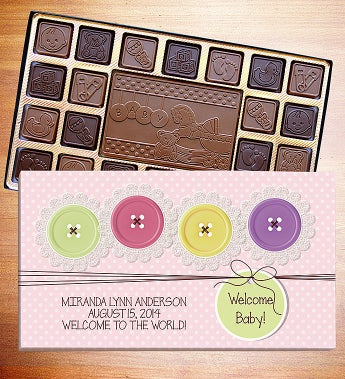 Welcome Baby Personalized Chocolate Box Chocolates -It's A Girl 45 Ct L Lb by 1-800-Baskets - Gift Basket Delivery