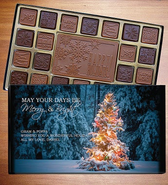 Happy Holidays Personalized Chocolate Box - Holiday Chocolates - Snowy Tree 45 Count L Lb