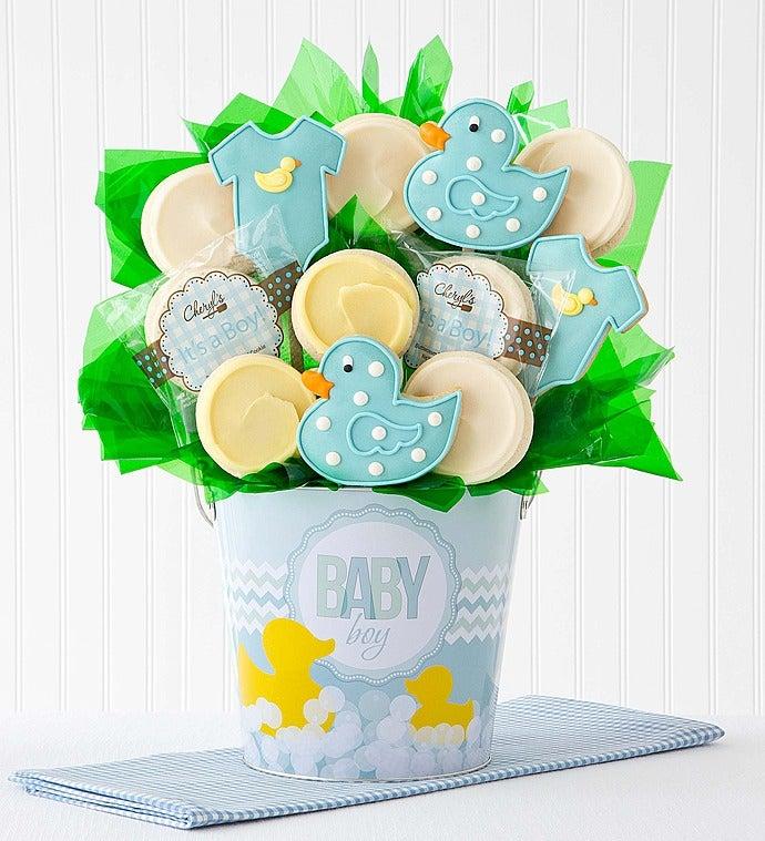 Cheryl's Baby Boy Cookie Flower Pot - 12Ct - Cheryl's Baby Boy Cookie Flower Pot - 12Ct