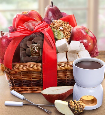 Decadent Chocolate & Fruit Fondue Basket - Decadent Chocolate & Fruit Fondue Basket