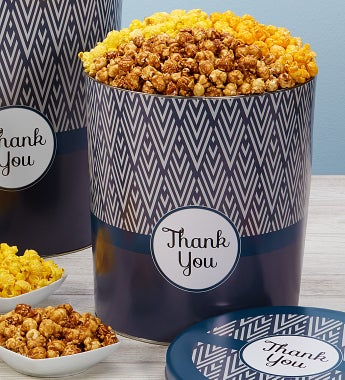 Popcorn Factory Simply Stated Thank You Tin - Simply Stated Thank You Popcorn Tin - 3 Way 6.5G