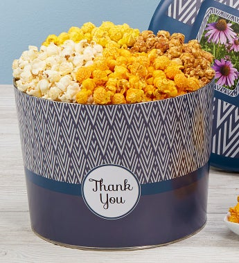 Popcorn Factory Simply Stated Thank You Tin-Simply Stated Thank You Popcorn Tin - 4 Way 3.5G