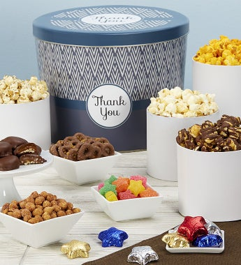 Popcorn Factory Simply Stated Thank You Snack Tin-Popcorn Factory Simply Stated Thank You Snack Tin