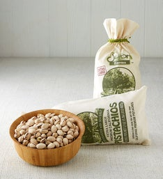 Natural Pistachios in Burlap Bag