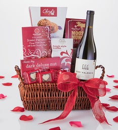 Valentine Romance Wine & Chocolates Gift Basket