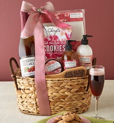 Cherry Blossoms Spa Basket with Sparkling Cider