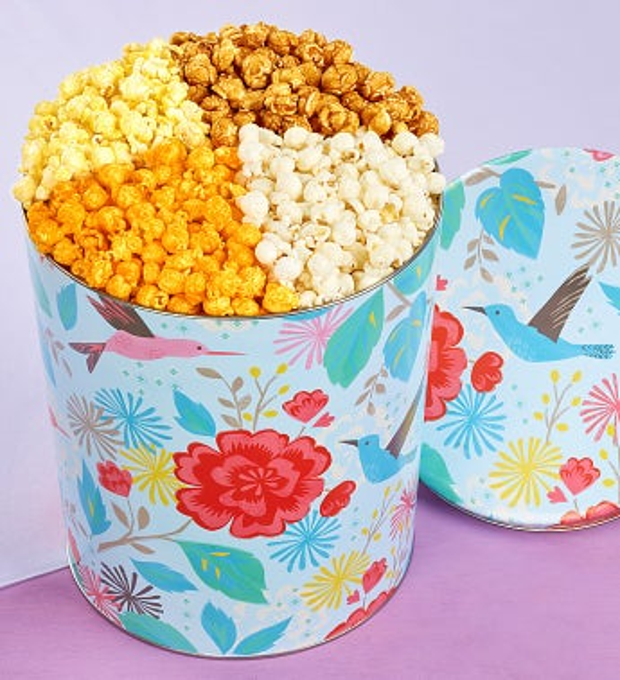 Popcorn Factory Hummingbird Garden 4 Way Tin - Popcorn Factory Hummingbird Garden 4 Way Tin
