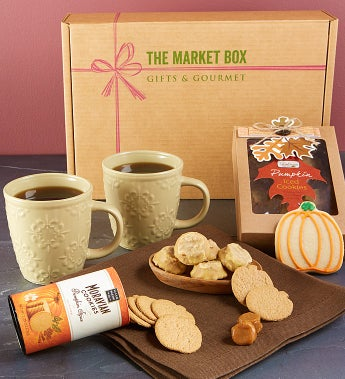 Gourmet Pumpkin Spice Market Box with Mugs