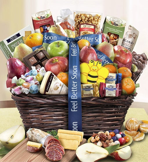 Feel Better Fruit & Sweets Gift Basket Deluxe
