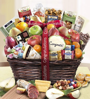 Congratulations Fruit & Sweets Gift Basket Deluxe - Congratulations Fruit & Sweets Gift Basket Deluxe