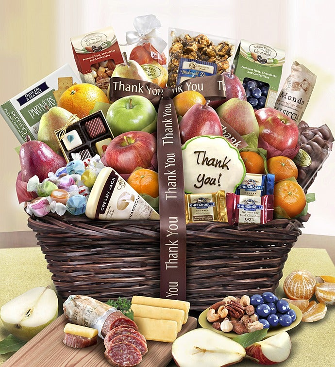 Thank You Fruit & Sweets Gift Basket Deluxe