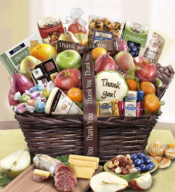 Thank You Fruit & Sweets Gift Basket Deluxe-Thank You Fruit & Sweets Gift Basket Deluxe