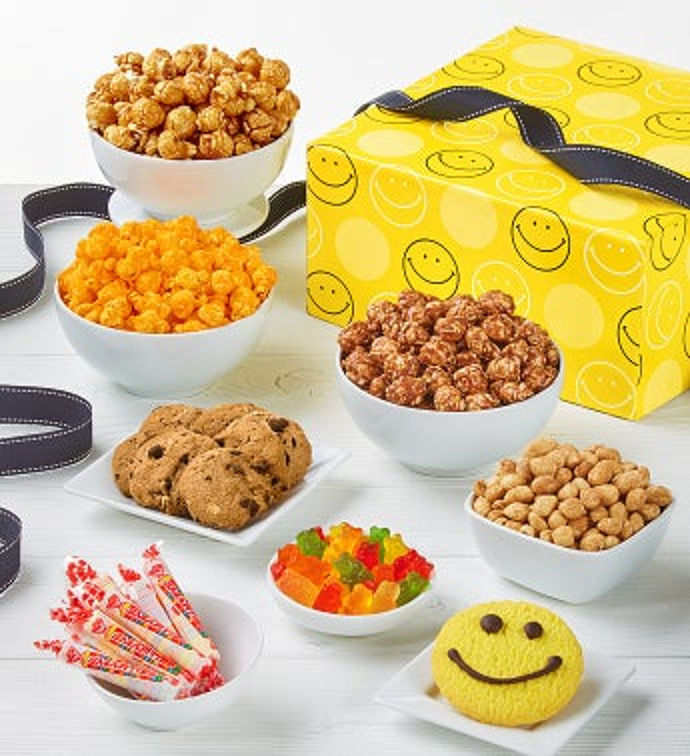 The Popcorn Factory Smiley Dot Sampler-The Popcorn Factory Smiley Dot Sampler Box