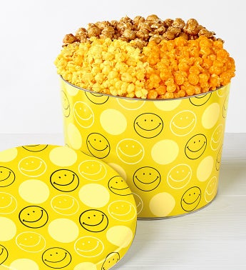 The Popcorn Factory Smiley Face 3 Way Tin 2G - The Popcorn Factory Smiley Face 3 Way Tin 2G