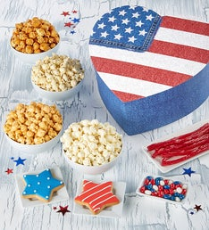The Popcorn Factory Flag Box with Snacks