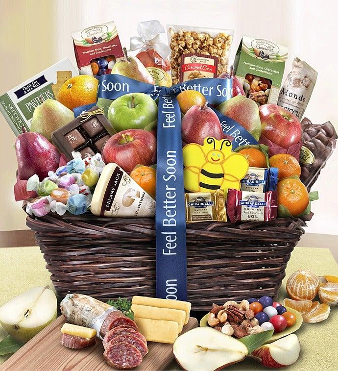 Feel Better Fruit & Sweets Gift Basket - Feel Better Fruit & Sweets Gift Basket Deluxe