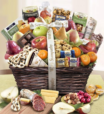 With Sympathy Fruit & Sweets Gift Basket - With Sympathy Fruit & Sweets Gift Basket Deluxe