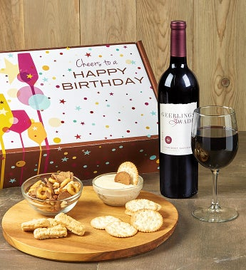 Happy Birthday! Red Wine And Gourmet Box - Happy Birthday! Red Wine And Gourmet Box