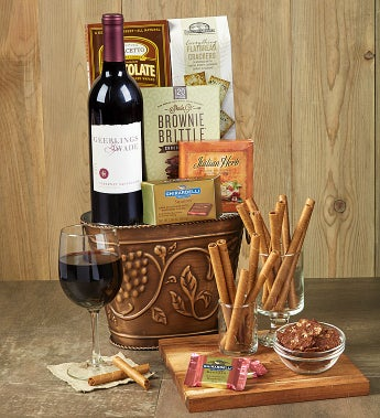 Grapevine Red Wine & Cheese Gift Basket - Grapevine Red Wine & Cheese Gift Basket