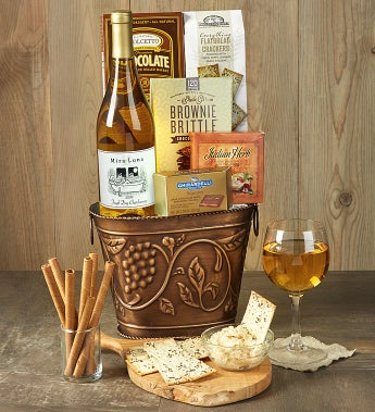 Grapevine White Wine & Cheese Gift Basket - Grapevine White Wine & Cheese Gift Basket