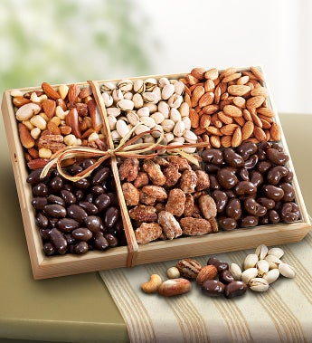 Caring Thoughts Sweet & Savory Nuts Gift by 1-800-Baskets - Gift Basket Delivery