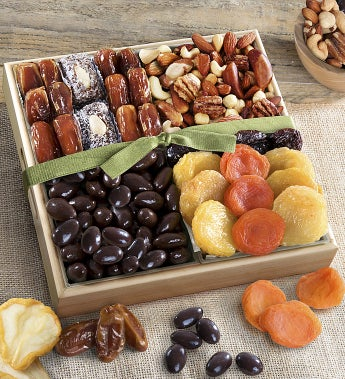 Dried Fruits With Savory & Chocolate Nuts Crate - Dried Fruits With Savory & Chocolate Nuts Crate