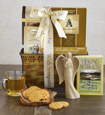 With Sympathy & Support Angel & Book Basket-With Sympathy & Support Angel & Book Basket