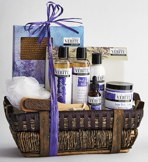 Lavender Ultimate Spa Gift Basket By Broadwaybasketeers Com: Denarii Lavender Spa Gift Basket