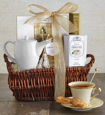 Time To Relax Tea & Teapot Gift Basket - Time To Relax Tea & Teapot Gift Basket